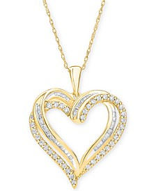 """Diamond Heart Pendant 18"""" Necklace (1/2 ct. t.w.) in 10k White, Yellow or Rose Gold."""