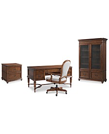 Clinton Hill Cherry Home Office 4-Pc. Set (Writing Desk, Lateral File Cabinet, Door Bookcase & Upholstered Desk Chair)