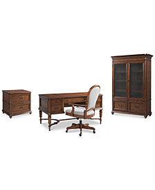Clinton Hill Cherry Home Office Furniture, 4-Pc. Set (Writing Desk, Lateral File Cabinet, Door Bookcase & Desk Chair), Created for Macy's