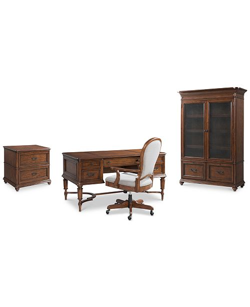 Furniture Clinton Hill Cherry Home Office Furniture, 4-Pc. Set (Writing Desk, Lateral File Cabinet, Door Bookcase & Upholstered Desk Chair), Created for Macy's