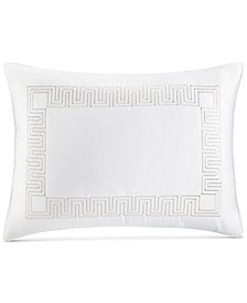 Greek Key Cotton Platinum King Sham, Created for Macy's