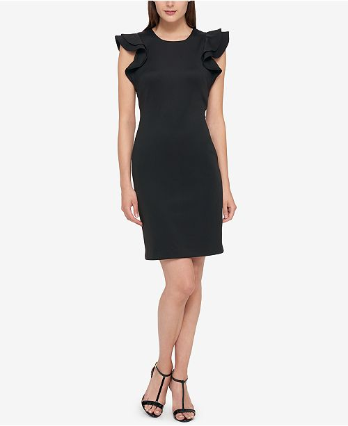 747cf444 Tommy Hilfiger Scuba Sheath Dress with Flutter Sleeves & Reviews ...