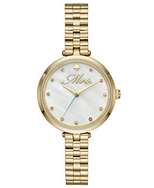 kate spade new york Women's Holland Gold-Tone Stainless Steel Bracelet Watch 34mm