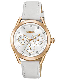 Citizen Drive from Citizen Eco-Drive Women's Chronograph White Leather Strap Watch 38mm