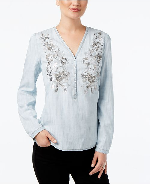 INC International Concepts I.N.C. Petite Embroidered Blouse, Created for Macy's