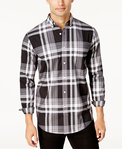 Club Room Men's Stretch Plaid Shirt, Created for Macy's - Casual ...