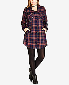 City Chic Trendy Plus Size Plaid Tunic Shirt