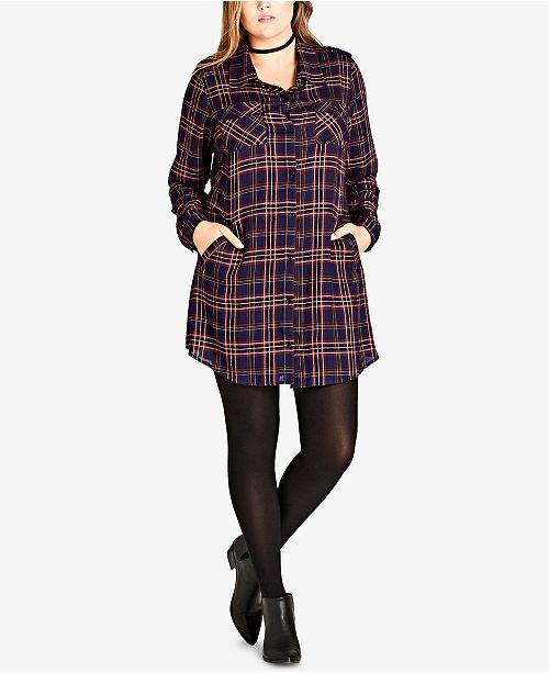 Trendy Plus Size Plaid Tunic Shirt