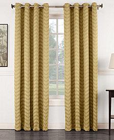"Sun Zero Ramsey 50"" x 63"" Jacquard Blackout Grommet Curtain Panel"