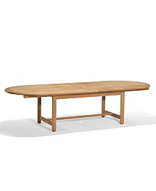 "Bristol Teak 118"" x 47"" Outdoor Extension Dining Table, Created for Macy's"