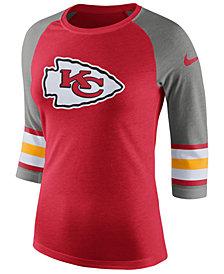 Nike Women's Kansas City Chiefs Stripe Raglan Triblend T-Shirt