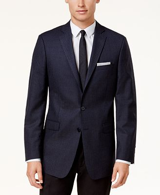 Calvin Klein Men's Slim-Fit Blue & Black Check Sport Coat