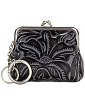 Patricia Nash Tooled Black Borse Coin Purse with Keychain