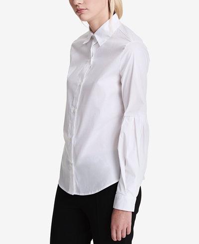 Calvin Klein Cotton Bishop-Sleeve Blouse
