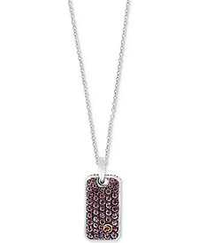 EFFY® Men's Brown Sapphire Dog Tag Pendant Necklace (1-1/3 ct. t.w.) in Sterling Silver & 18k Gold
