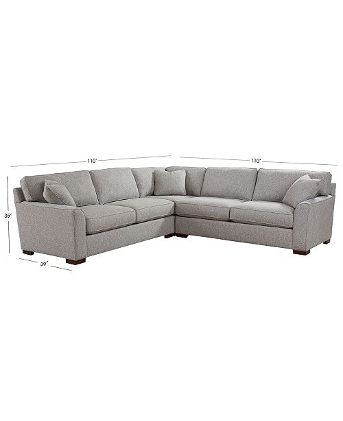 """Furniture Carena 3-Pc. Fabric """"L"""" Shaped Sectional"""