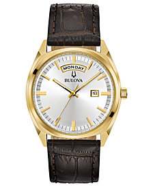 Bulova Men's Brown Leather Strap Watch 39mm
