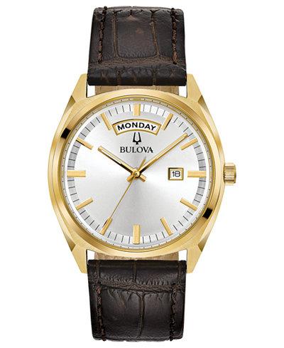 Bulova Men's Brown Leather Strap Watch 39mm