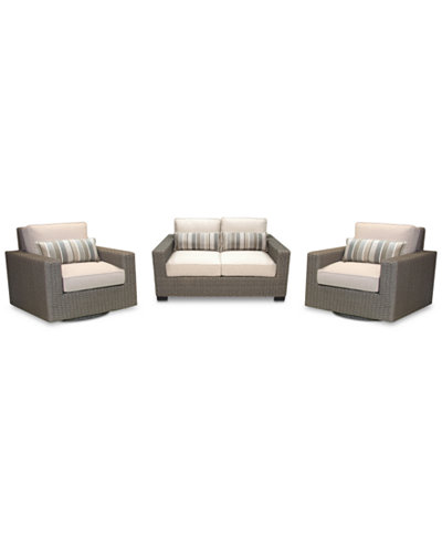 Del Mar 3-Pc. Set (1 Loveseat & 2 Swivel Chairs), Created for Macy's