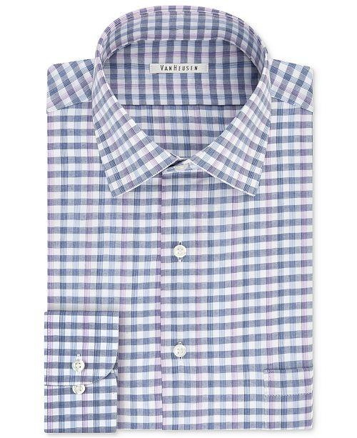 6330a7c4310 ... Van Heusen Men s Classic Fit Wrinkle-Free Blue Check Dress Shirt ...