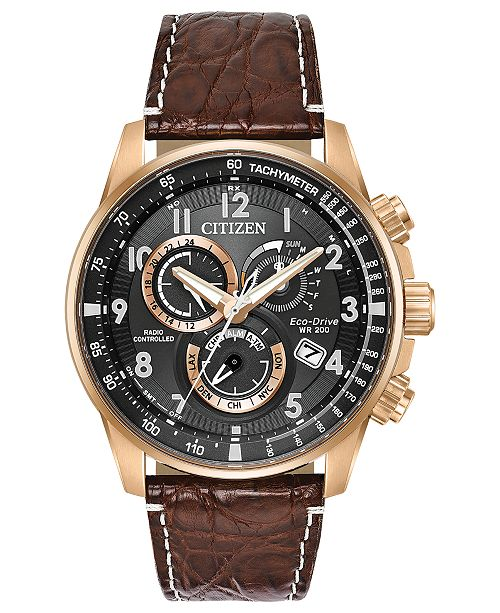 Citizen Eco Drive Mens Chronograph Perpetual Chrono A T Brown