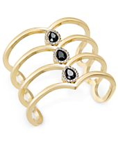 INC International Concepts Gold-Tone Pavé & Jet Stone Cuff Bracelet, Created for Macy's