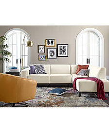 """CLOSEOUT! Nataliya 108"""" Leather Sectional Sofa Collection, Created for Macy's"""