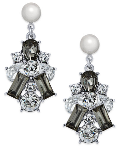 Charter Club Silver-Tone Clear & Jet Crystal with Imitation Pearl Drop Earrings, Created for Macy's
