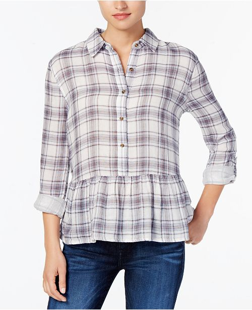 Buffalo David Bitton Wendy Cotton Plaid Peplum Shirt