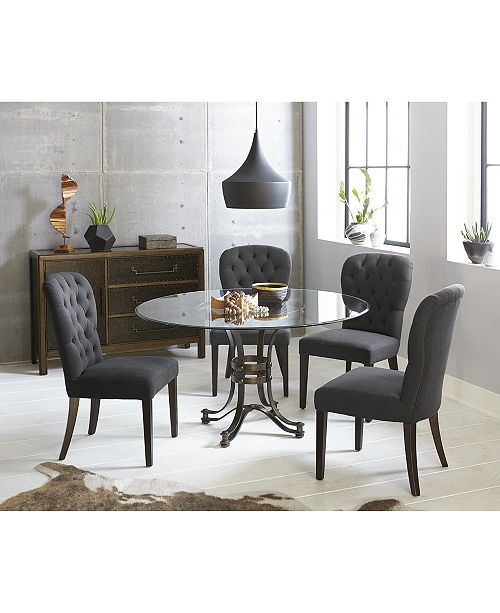 Furniture Caspian Round Metal Dining 5 Pc Set 54 Table 4 Side Chairs Created For Macy S