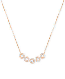 Swarovski Rose Gold-Tone Square Crystal Halo Pendant Necklace