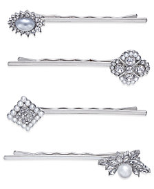I.N.C. Silver-Tone 4-Pc. Set Crystal Pavé & Imitation Pearl Hair Pins, Created for Macy's