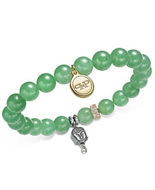 Paul & Pitü Naturally Two-Tone Pavé, Buddha & Green Agate Beaded Stretch Bracelet