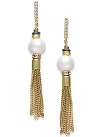 Two-Tone Pavé & Imitation Pearl Chain Drop Earrings