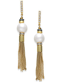 Paul & Pitü Naturally Two-Tone Pavé & Imitation Pearl Chain Drop Earrings