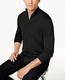 Men's Quarter Zip Merino Wool Blend Sweater, Created for Macy's