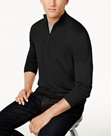 Club Room Men's Regular-Fit 1/4-Zip Merino Sweater, Created for Macy's