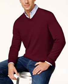 Club Room Men's Regular-Fit Solid V-Neck Merino Sweater, Created for Macy's