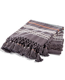 CLOSEOUT! Whim by Martha Stewart Collection Textured Stripe Hearth Gray Throw, Created for Macy's