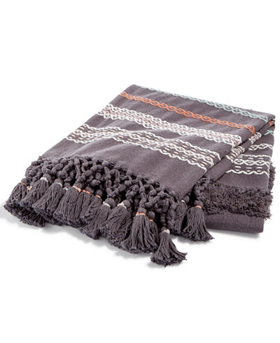Whim by Martha Stewart Collection Textured Stripe Hearth Gray Throw, Created for Macy's