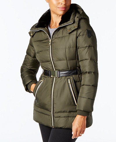 Vince Camuto Faux Fur Trim Belted Puffer Coat Coats