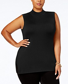 Plus Size Mock-Neck Sleeveless Sweater, Created for Macy's