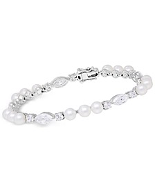 Cultured Freshwater Pearl (5mm) & Swarovski Zirconia Bracelet in Sterling Silver