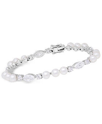 Cultured Freshwater Pearl (5mm) & Swarovski Zirconia Bracelet In Sterling Silver by Arabella