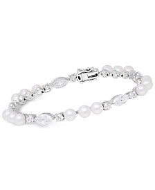 Arabella Cultured Freshwater Pearl (5mm) & Swarovski Zirconia Bracelet in Sterling Silver