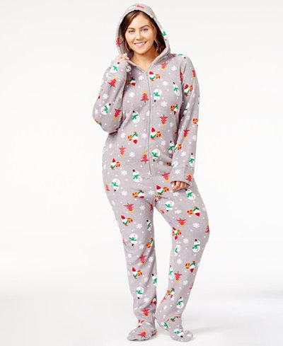 Family Pajamas Plus Size Holiday-Printed Footed Pajamas ...