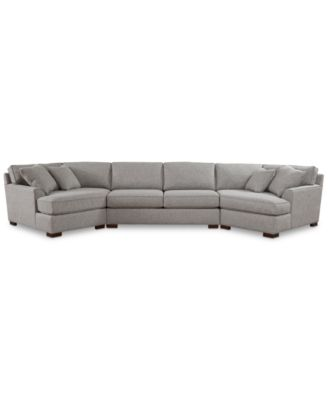 Carena 3-Pc. Fabric Sectional with Apartment Sofa and Double Cuddler Chaise, Created for Macy's
