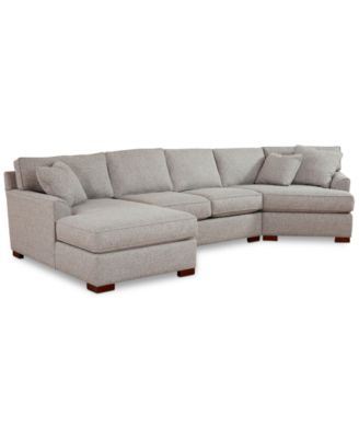 Carena 3-Pc. Fabric Sectional with Armless Loveseat and Cuddler Chaise, Created for Macy's