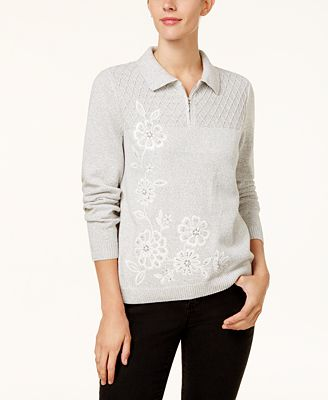 Alfred Dunner Eskimo Kiss Petite Embellished Floral Sweater