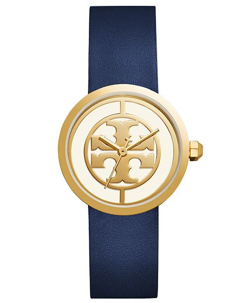 c9f9bed7503c6b Tory Burch Women s Reva Blue Leather Strap Watch 36mm   Reviews ...